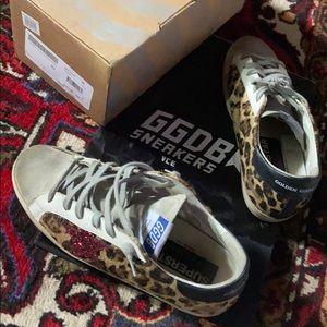 Golden Goose Deluxe brand leopard w red glitter